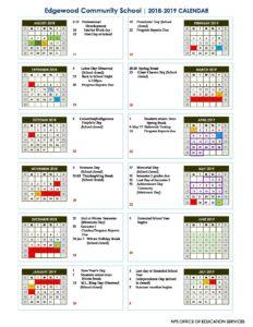 Nps Calendar 2019 Edgewood NPS Academic Calendar 2018 2019   Edgewood Center for